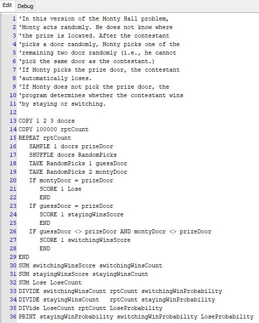 Script for random Monty Hall simulation.